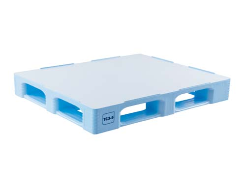 Top of the Craemer TC3-5 plastic hygiene pallet with rim.