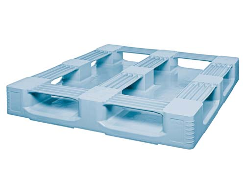 Bottom of the Craemer TC3-5 plastic hygiene pallet with rim.