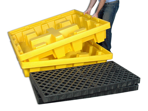 Ultra-Spill Pallet P4 Nestable with Drain - Being Nested