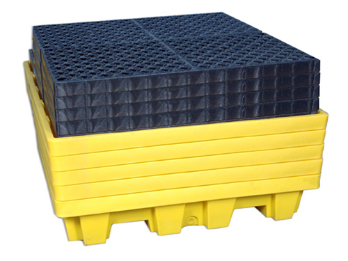 Ultra-Spill Pallet P4 Nestable with Drain - Fully Nested