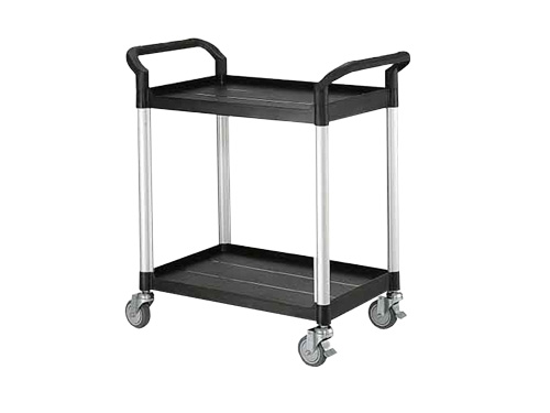 SERVICE TROLLEY SMALL 2 TIER BLACK (2859)