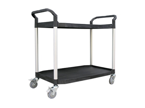 SERVICE TROLLEY LARGE 2 TIER BLACK (2860)