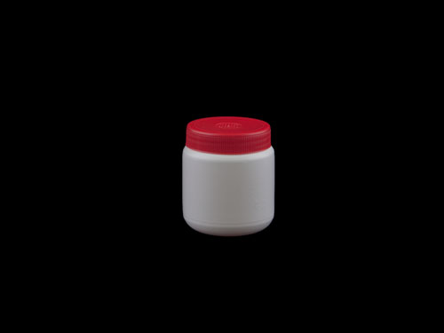RND BM JAR W/LID 250ML WHT/RE (6237)