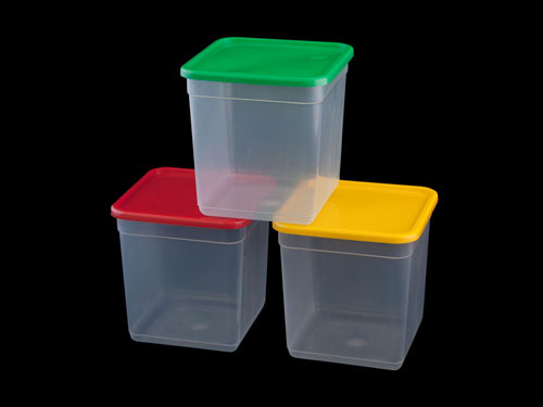 Clear Liver Pails with different coloured lids