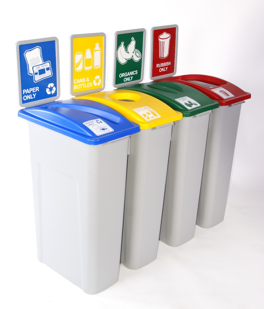 Xin waste watcher bin with slot lid 72l stowers plastics - Recycle containers for home use ...